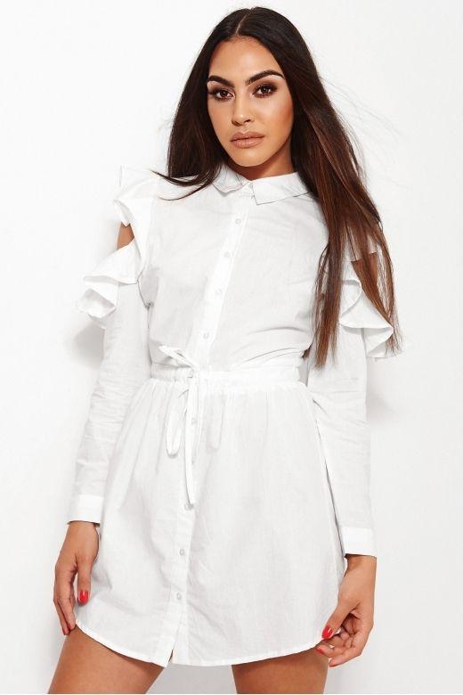 Ami Cold Shoulder White Ruffle Shirt Dress