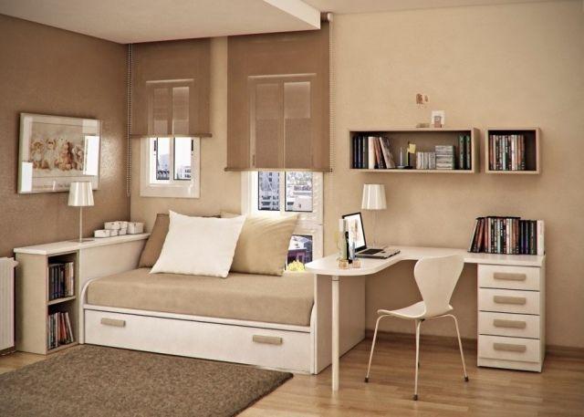jugendzimmer ideen unisex kleine räume beige creme bett mit schubladen
