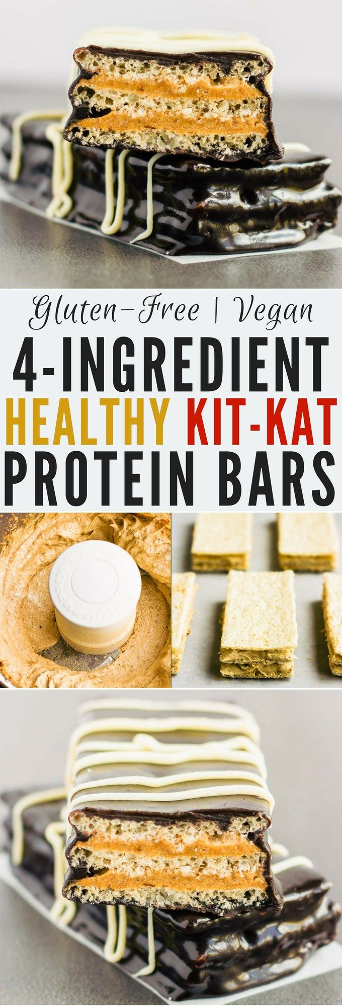 These healthy & homemade kit kat protein bars are easy to make and require only 4 simple ingredients. These extra crunchy, no-bake protein treats are the perfect post-workout snack. They are entirely gluten-free, vegan, dairy-free, egg-free, flourless and nut-free.   onecleverchef.com