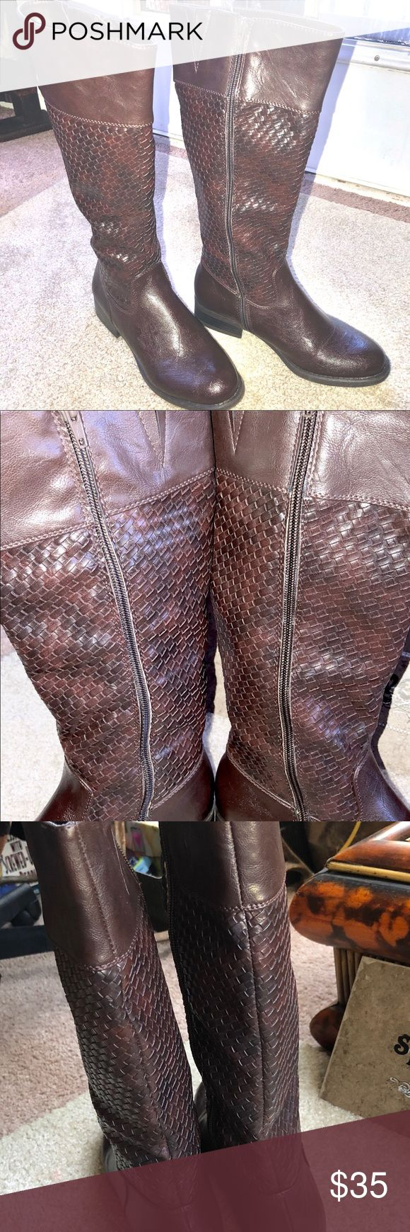White Mountain Brand Boots for Ladies! Sz 6 Worn once! Great looking pair of knee high boots for ladies!! No marks or scuffs! Made from man made materials, not genuine leather, but still striking!! Inside zipper closures and elastic hidden at top for expandable fit!!! Basket weave design! Dark/medium brown colors. Wonderful addition to any wardrobe!! Size 6(lady's). Thank you!! Carlee❤️ White Mountain Shoes Heeled Boots