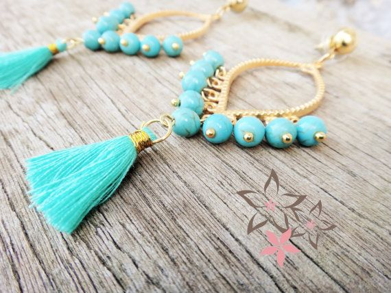 Hera / Boho Gold Plated Brass Earrings / Turquoise by Twininas