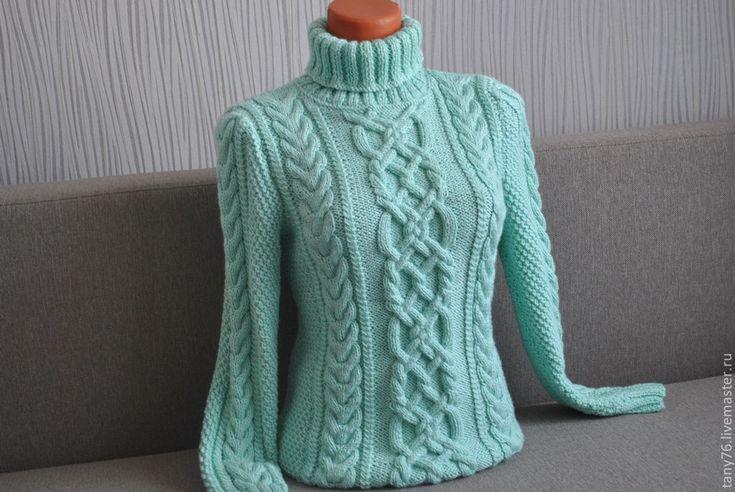 """Купить Свитер""""Мятный с воротником-гольф"""" - мятный, вязаный свитер, свитер вязаный, мятный свитер, теплый"""