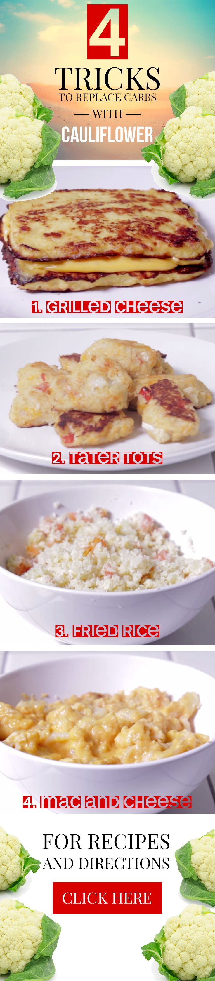 These 4 unbelievable Cauliflower Recipes are perfect if you are trying to replace carbs with cauliflower or look for new ways for how to cook with cauliflower.