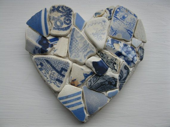 Sea pottery made with glass pieces found on the beach