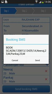IRCTC SMS Booking App is one of the Best App for booking train ticket via SMS. It uses IRCTC SMS Booking service to book ticket. Users can Check PNR Status via SMS through this IRCTC SMS Booking App.