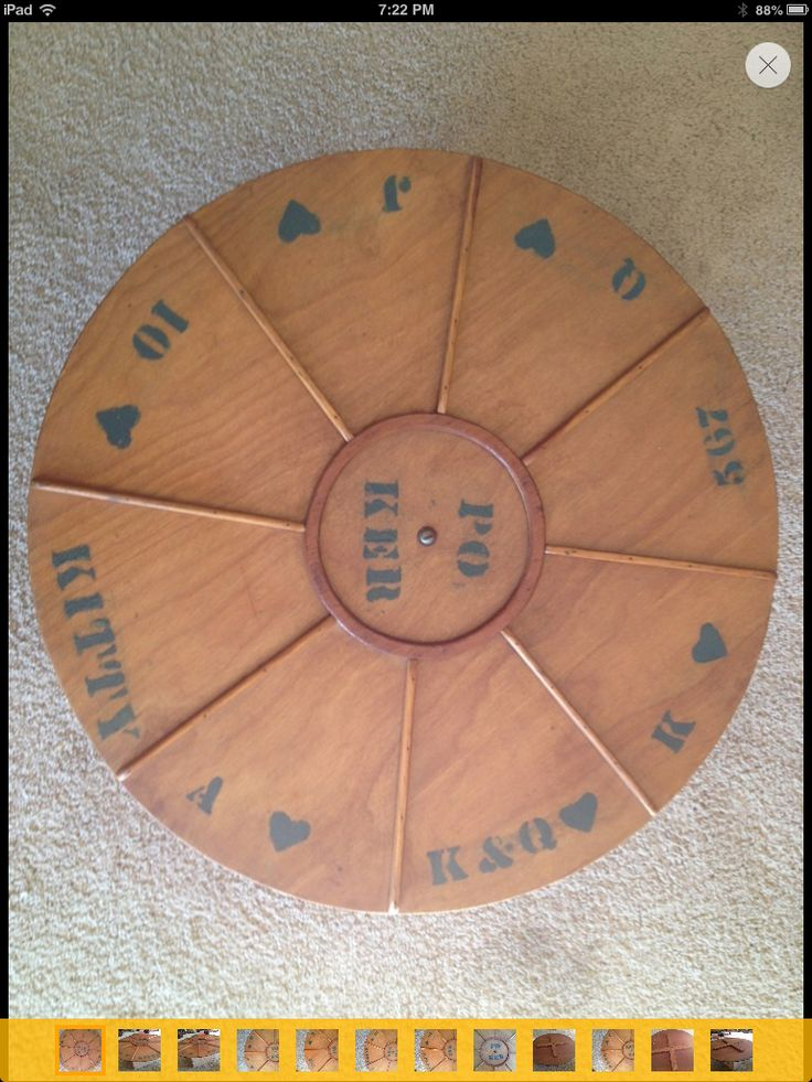 Make your own tripoley board! Buy a lazy susan, get the wood strips to separate each section and use vinyl to cut out symbols and mod podge it