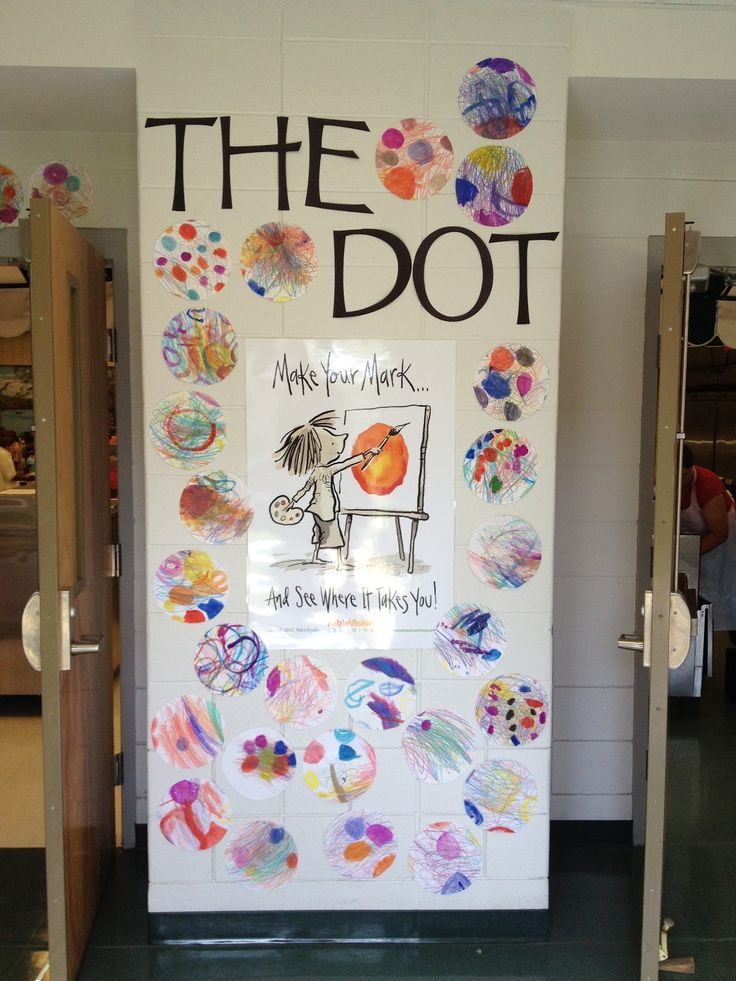 Dot Day Display from Tiger Apple Twist Elementary Art Blog. Looks like you give everyone a circle on a sheet and have them fill it up? Would probably work well with the lower elementary?
