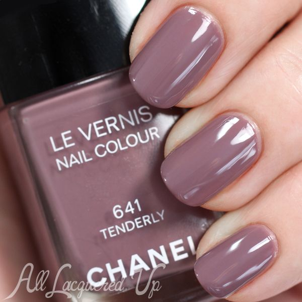 Chanel Spring 2015 Nails – Reverie Parisienne Swatches and Review   Chanel Tenderly is a purple-tinged taupe creme.