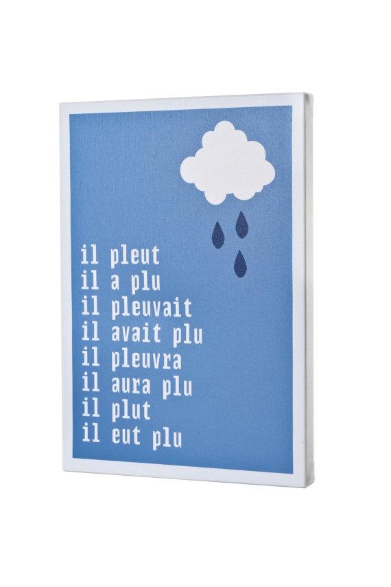 Canvas Wrap Print Rain Cloud French Typographic Digital A3 Artwork