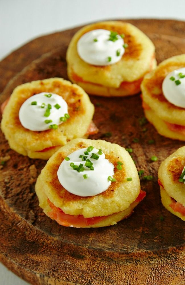 Smoked Salmon Silver Dollar Pancakes Recipe — Dishmaps