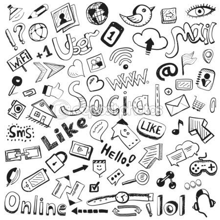 Vector hand drawn icons: big set of modern social doodles — Stock Illustration #16253133