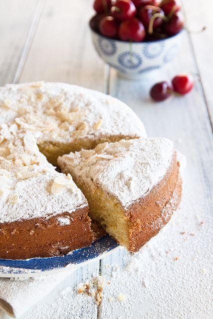 torta margherita con ciliegie- cherry sponge cake by Juls1981, via Flickr