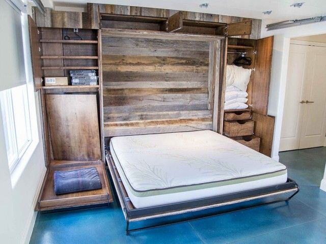 rustic, barn door murphy bed cabinet | Mixed Tobacco Barn Grey/Brown Wood Wall + Murphy Bed --- [tiny house]