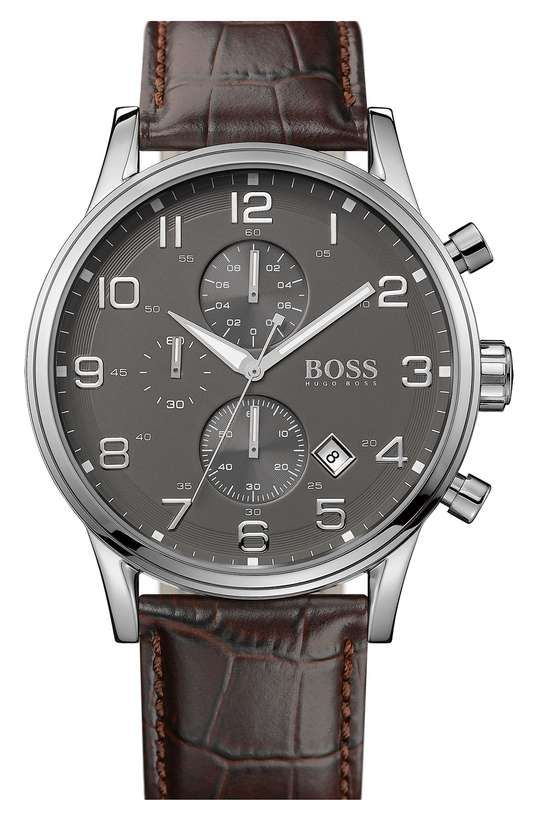 Love the Boss Hugo Boss BOSS HUGO BOSS Stainless Steel & Leather Chronograph Watch, 44mm on Wantering.