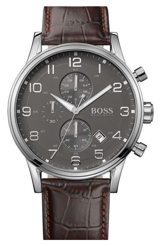 Boss Hugo Boss | BOSS HUGO BOSS Stainless Steel & Leather Chronograph Watch, 44mm #bosshugoboss #watch