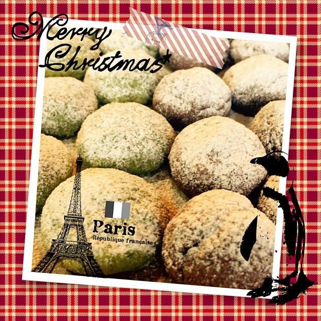 今日はお母さんのお友達達の忘年会でビンゴ大会の景品を私に作って欲しいと言われ、頑張りましたー❤️  もらってくれた人、喜んでくれるかなー - 44件のもぐもぐ - HMで簡単❤️抹茶チョコチップとココアのスノーボールクッキー by YuCafeHiroshima