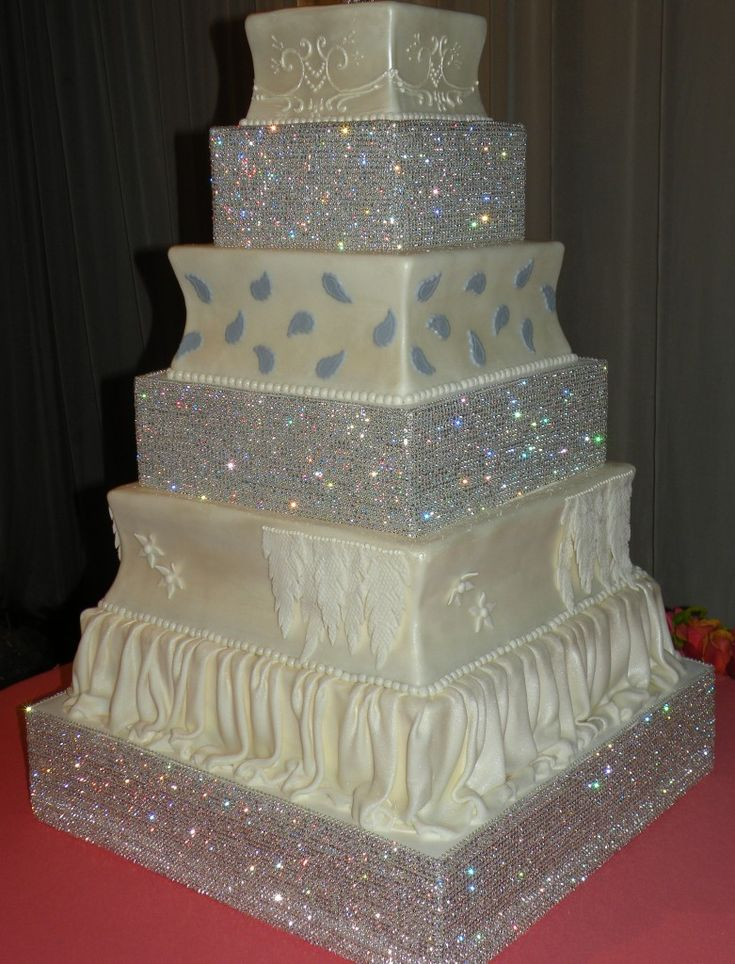 wedding cakes los angeles prices%0A Bling wedding cake   The ultimate princess cake  A four tier bling wedding  cake u