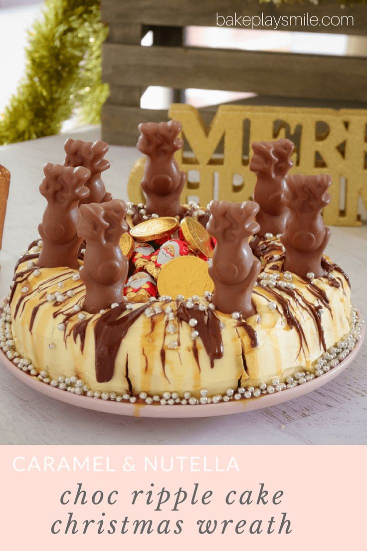 This Christmas Chocolate Ripple Cake Wreath is the perfect showstopper dessert! Topped with caramel sauce, Nutella, Malteser reindeers and silver baubles... it makes a great table centrepiec