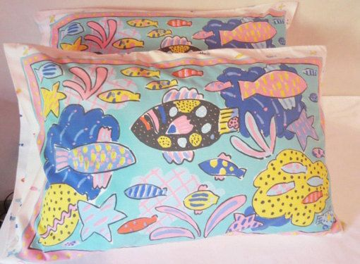 Pair of Ken Done Pillow Cases  1980s by LouisaAmeliaJane on Etsy, $20.00