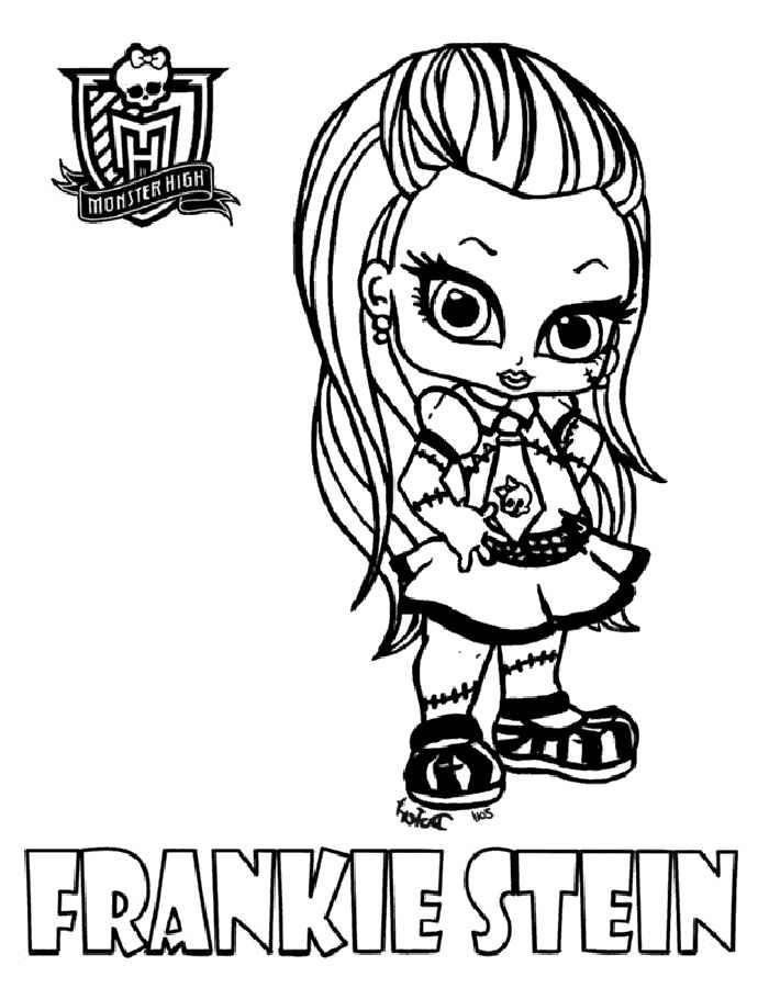 Одна из основных героинь мультсериала Школа монстров - Фрэнки Штейн. Теперь ваши дети могут раскрасить её в любимые цвета.