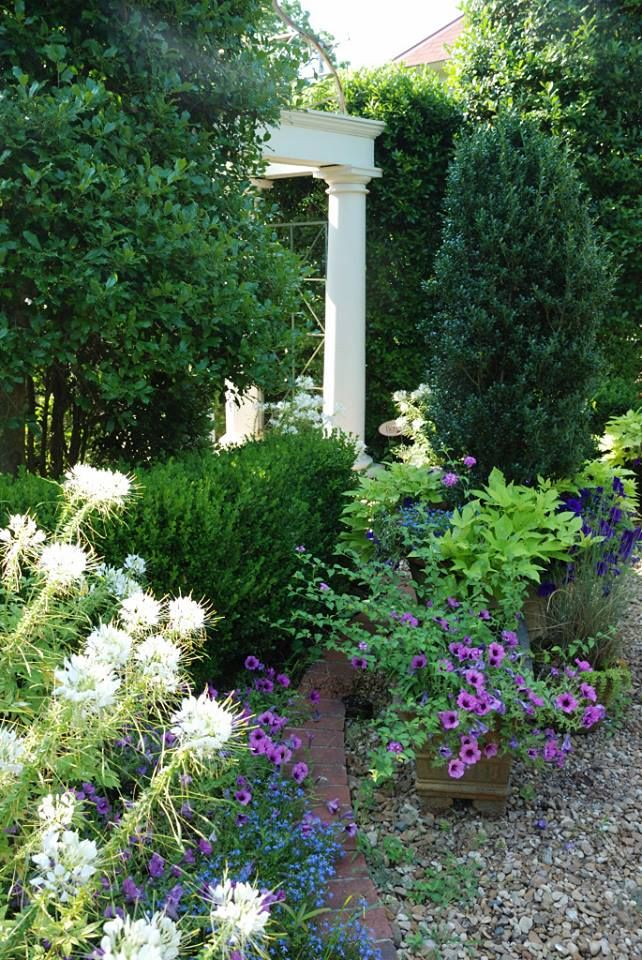 try quiet shades of purple lavender and blue or white and soft pastel colors to add a welcome crispness to shady areas