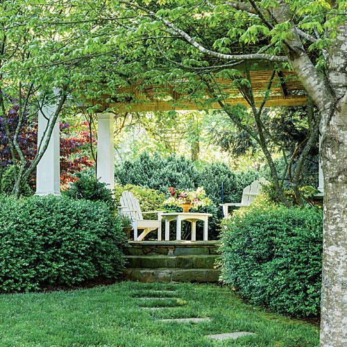 The Arbor - All-Green Garden Design - Southernliving. The Big Idea: Camille erected this arbor on the foundation of a tumbled-down cabin. On axis with the boxwood parterre, it lines up perfectly with the new porch. Here, it is seen from the side looking toward the American boxwood allée.The Plants: 'Green Mountain' boxwood and serviceberry flank the sides. A 'Forest Pansy' Eastern redbud (above left) has heart-shaped purple-red leaves and offers a vivid contrast to the verdant spring…