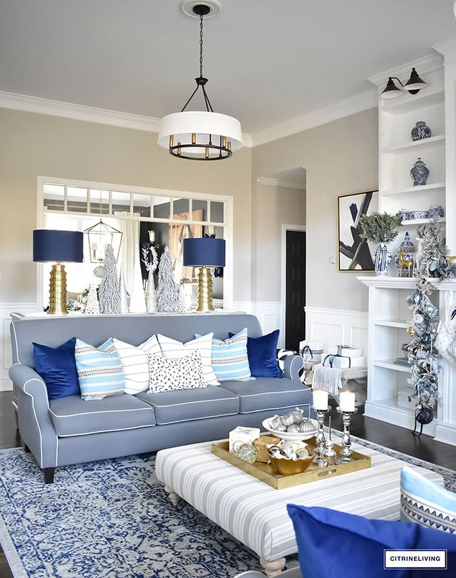 Christmas Home Tour Gorgeous Living Room Dressed In Blues Gold Silver And Flocked Blue Living Room Decor Silver Living Room Decor Blue And Gold Living Room,Kitchen Floor Plan Design