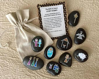 Nativity Story Stones - Birth of Jesus Story Stones - Christmas Story Stones - Hand painted rocks