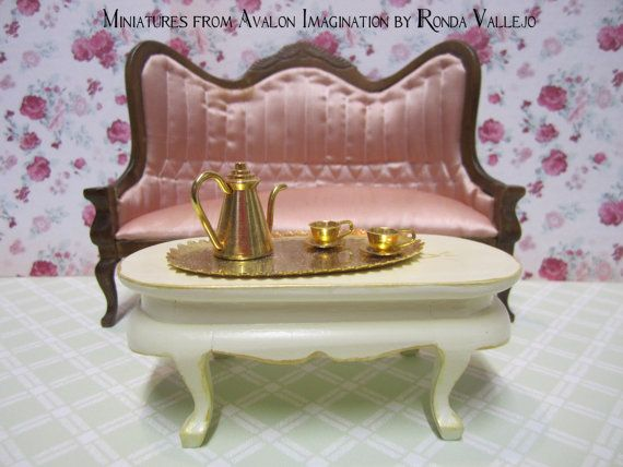 Miniature Dollhouse Victorian Coffee Table 1/12th Scale In Hand Painted In  Antique White With Gold Accents