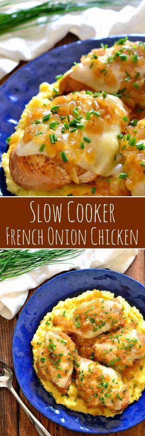 Slow Cooker French Onion Chicken is packed with the delicious flavors of French Onion Soup....including the cheese! Perfect for busy weeknights and destined to become a new family favorite!: