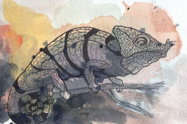 82 Liz I - Panther Chameleon - sold © kesterart.com   Kirsten K. Kester