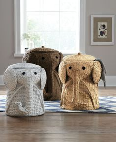 Keep dirty laundry hidden in a fun elephant hamper. HomeDecorators.com #dreamoasis #bath
