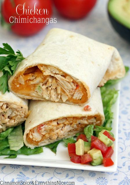 Tortillas stuffed with spicy chicken, cheddar cheese, tomatoes and sour cream. Using rotisserie or leftover, cooked chicken as well as baking instead of frying makes for a fast, easy meal. The tast...
