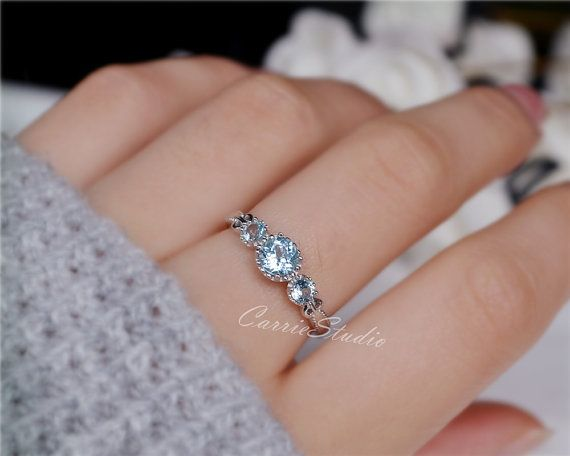 Natural Sky Blue Topaz Ring Topaz Engagement Ring by CarrieStudio <<Already ordered it~ ☺️