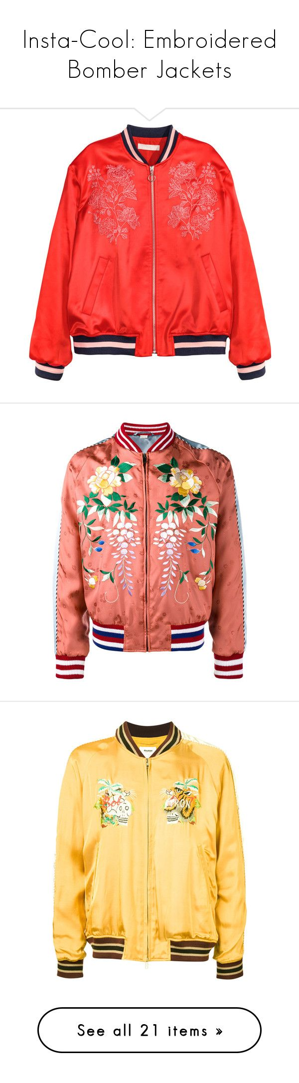 """Insta-Cool: Embroidered Bomber Jackets"" by polyvore-editorial ❤ liked on Polyvore featuring embroideredbomberjackets, outerwear, jackets, bomber jacket, coats & jackets, flight jacket, zip jacket, red zipper jacket, satin jackets and bomber style jacket"