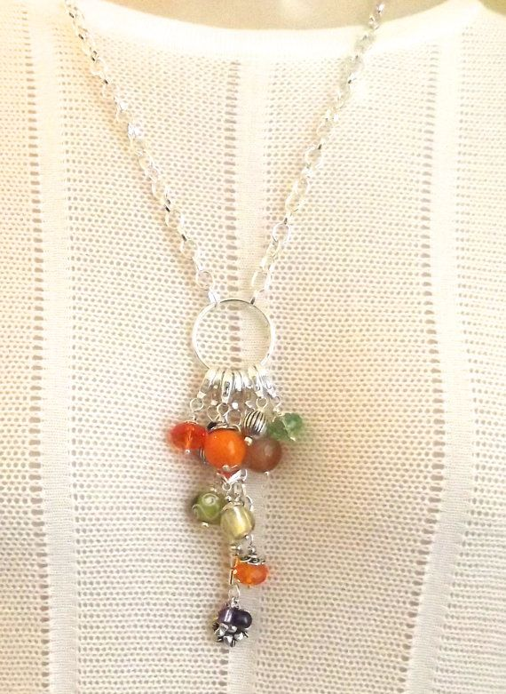Add A Dangle Charm Connector Necklace/ Festive Statement Necklace/ Orange Green Yellow Silver Chain Necklace/ OOAK Unique Long Necklace