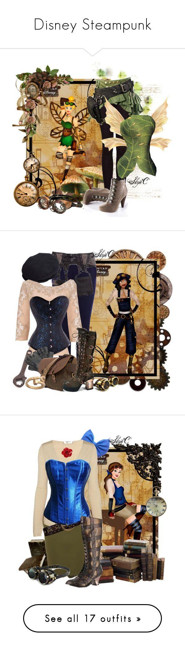 """Disney Steampunk"" by tinkerbell06 ❤ liked on Polyvore featuring MANGO, Laura Scott, disney, tinkerbell, steampunk, Disney, Karen Millen, Barneys New York, Versace and Barbour"