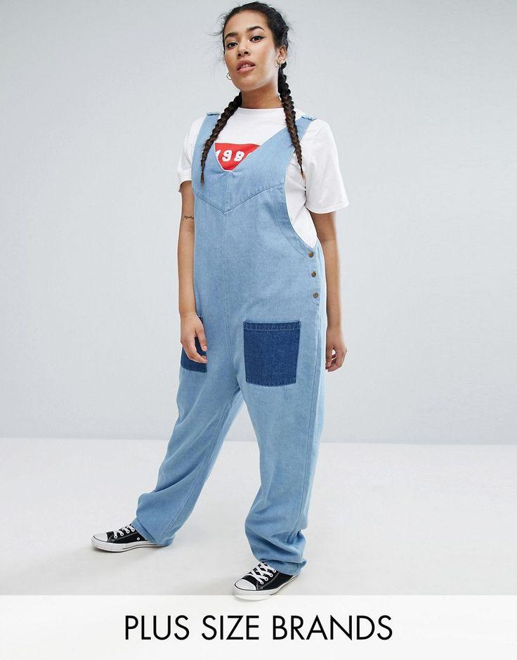 Daisy Street Plus Denim Jumpsuit - Blue