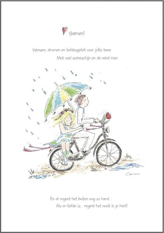 Wenskaart `Samen` (fiets)