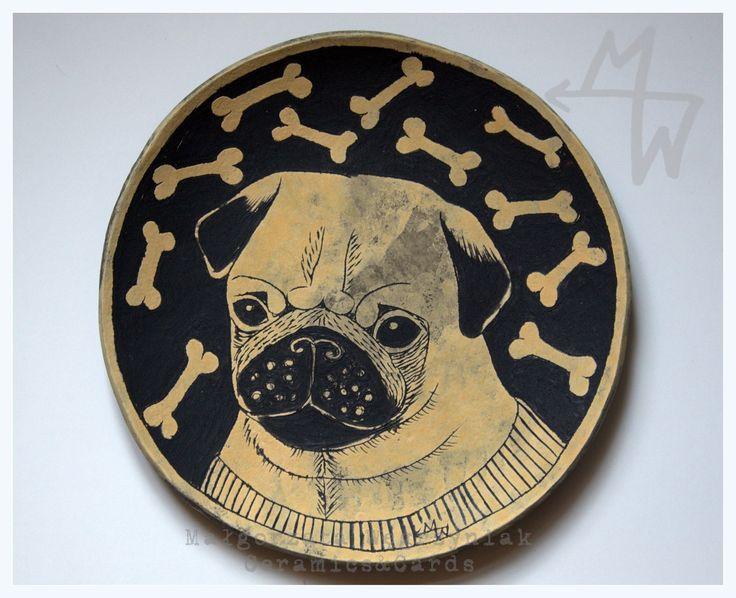#mwceramics #malgorzatawegrzyniak #polandhandmade #sgraffito #mops #dog #plate #pug