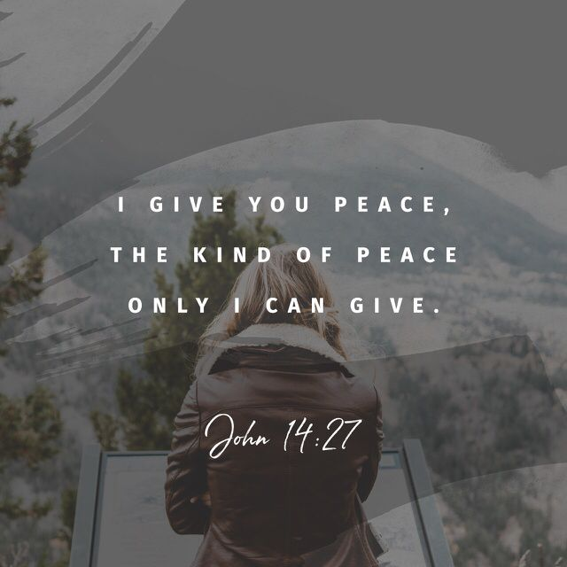 "John 14:27 ""Peace I leave with you, My peace I give to you; not as the world gives do I give to you. Let not your heart be troubled, neither let it be afraid"""