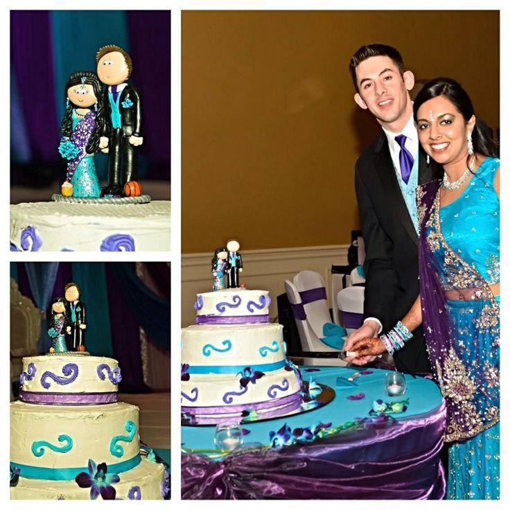 Indian Bride And American Groom Personalised Wedding Cake Topper Googlygiftsco
