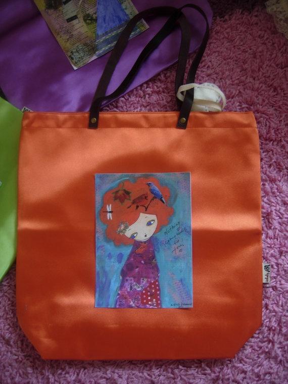 Orange Summer colorful waterproof art bag with an art by eltsamp, $78.00