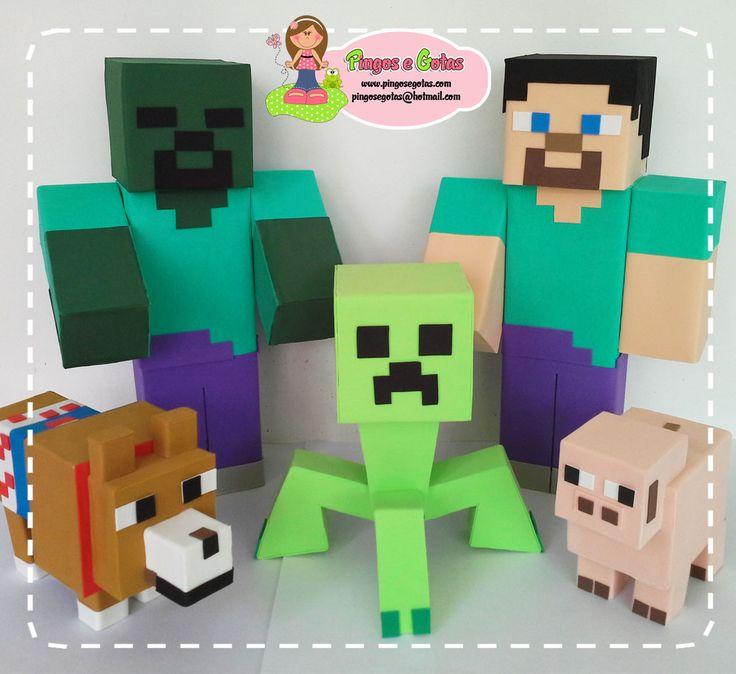 Fofuchos Minecraft feitos para a cliente Rossana, decoradora de festa infantil em Manaus. Criação exclusiva Pingos e Gotas. Encomendas:...