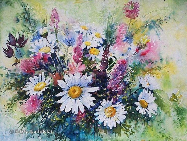 Edyta Nadolska Watercolor Art - 'Wildflowers'