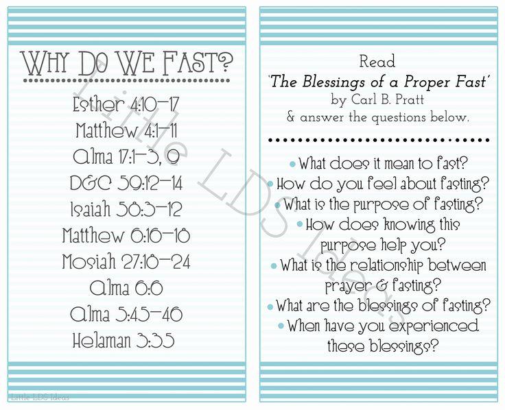 {Come Follow Me} September 'come Follow Me' Handouts: Why Do We Fast? | Mormon Share