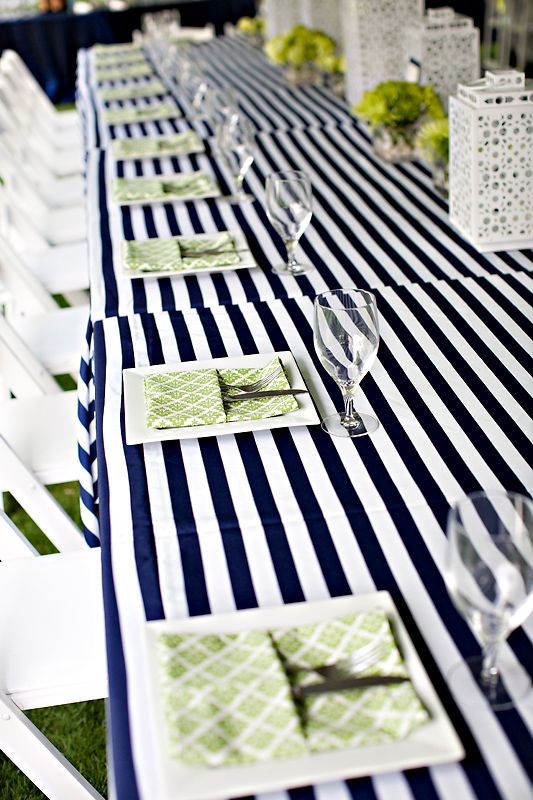 Great Idea For Tables With The White Lanterns, Stripe Table Linen And Green  Flowers