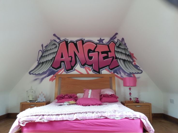 Children teen kids bedroom graffiti mural handpainted graffiti featurewall design Painting graffiti on bedroom walls