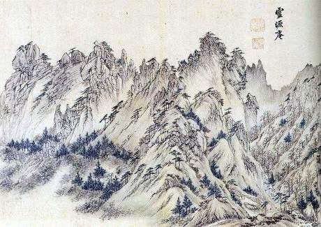 (Korea) 영파 Rock in Mt Geumgang by Gyeomjae Jeong Seon (1676-1759). ca 18th century CE. color on paper.