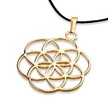 Seed of Life Pendant - Gold The Symbol of Creation and Fertility. Jewel's Intention: Foster new ideas, and find protection during pregnancy. A symbol of blessing, fertility and protection Seed of life is worn as a symbol of protection for pregnant women. It helps to create new ideas and to open new pathways in life. The seed of life is a symbol for the days of creation. Click on the image to order. Solid Gold 14k Yellow Size:2.5cm/2.5cm - 1Inch/1Inch Price:$237